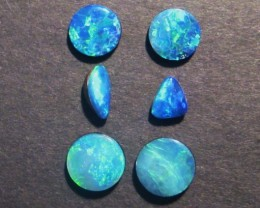 6 Australian Lightning Ridge Opal Doublets, Make a fabulous pair of earring