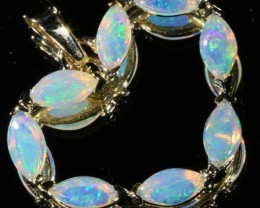 Solid crystal opal set in 9k yellow gold Pendant SB 396