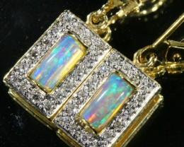 Solid Crystal Opal  with Diamonds Set in 14k Yellow Gold Earring SB 407