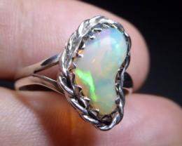 Sz 8 Natural Ethiopian Opal .925 Silver Taxco Handmade Boho Ring