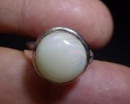 Sz 5 Natural Ethiopian Opal .925 Silver Taxco Handmade Boho Ring