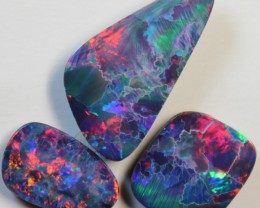 17.50 CTS  -  3 PIECES OPAL DOUBLET RED FIRE PARCEL D770