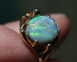 Lightning Ridge size 6 Gold Black Opal Ring