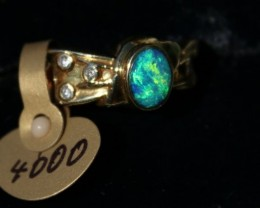 BLUE Lightning Ridge Diamond Gold Opal Ring
