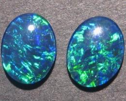 Pretty pair of Australian Opal Triplets, 9x7mm