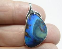 Solid boulder opal pendant