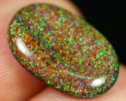 3.76Ct Australian Andamooka Polished Black Matrix Opal Cabochon