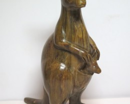 Queensland Boulder Petrified Wood Australian Carved Kangaroo & Joey Sou
