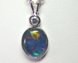 Australian Triplet Opal 12mm x 10mm Silver CZ Pendant
