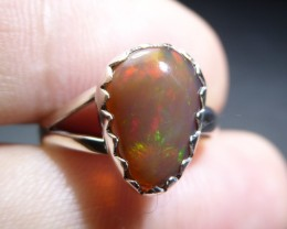 Sz 6.5 Natural Mexican Opal .925 Silver Taxco Handmade Boho Ring Jewelry