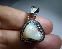 Solid Opal & Sterling Silver Quality Pendant!