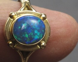 Solid Semi-Black Solid Opal Ring (GR 03) from Lightning Ridge