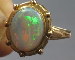 Solid Semi-Black Solid Opal Ring (GR 08) from Lightning Ridge