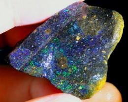 49Ct Rainbow Color Play Black Matrix Honduras Rough Opal