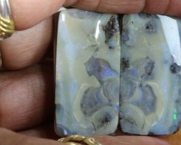 81 CTS BOULDER OPAL PAIR  POLISHED CUT STONE TBO-5383