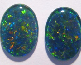 Gem Grade Pair of Australian Opal Triplets, 18x13mm