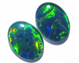 Pair of beautiful Gem Grade Australian Opal Triplets, 16x12mm