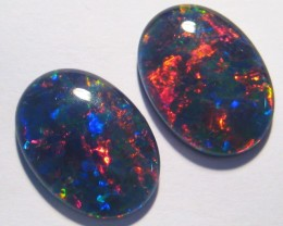 Beautiful pair of Gem Grade Australian Opal Triplets, 18x13mm