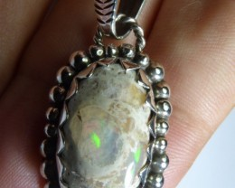 Natural Mexican Matrix Opal .925 Sterling Silver Pendant Mexican Taxco