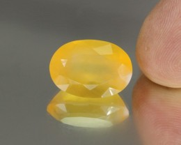 9.91cts Madagascar Yellow Fire Opal Faceted Oval Cut