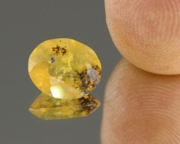 2.65cts Madagascar Yellow Fire Opal Faceted with Dendrits