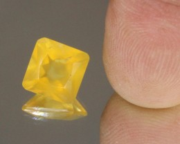 3.37cts Madagascar Yellow Fire Opal Faceted Square Cut