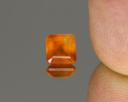 1.52cts Madagascar Fire Opal Faceted Square Cut