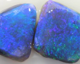 6.7 CTS  TWO BLACK OPALS RUBS -LIGHTNING RIDGE [BR5007]