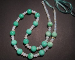 Australian Mintabie Opal and Australian Chrysoprase Bead Necklace