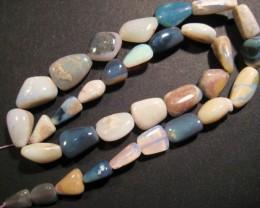 Pretty Australian Semi Black Mintabie Opal Bead Strand