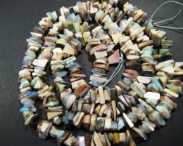 Extra Long Australian Andamooka Matrix Opal Chip Bead Strand