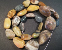 Australian Andamooka Matrix Opal Bead Strand, large freeform beads