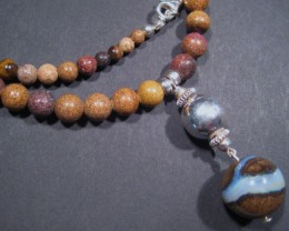 Australian Queensland Boulder Opal Bead Necklace - stunning Focal Bead