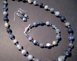 Australian Lightning Ridge Black Opal Bead Necklace, Bracelet and Earring S