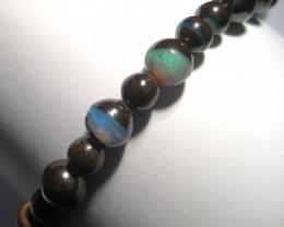 Beautiful Australian Queensland Boulder Gem Opal Bead Bracelet, bright blue