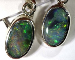 7.45 CTS BLACK OPAL SILVER EARRINGS OF-1770