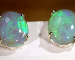 10 CTS BLACK OPAL SILVER EARRINGS OF-1773