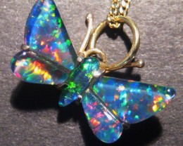 Stunning Australian Opal Triplet and Gold Butterfly Pendant