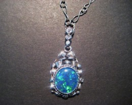 Beautiful Australian Triplet Opal and Sterling Silver Pendant