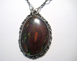 Beautiful Large Australian Queensland Boulder Opal and Sterling Silver Pend