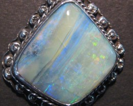 Pretty Australian Queensland Boulder Opal and Sterling Silver Pendant