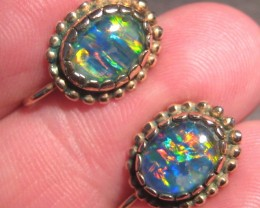 Bright Australian Triplet Opal and Solid Gold Earrings, clip/screw style