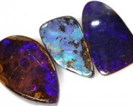 11.45 CTS 3PC BOULDER OPAL POLISHED STONE  ADO-4317