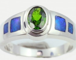 8.5 RING SIZE DIOPSIDE WITH NATURAL OPAL INLAY [SOJ5262]