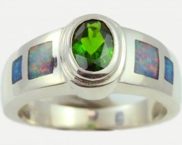 7 RING SIZE DIOPSIDE WITH NATURAL OPAL INLAY [SOJ5263]
