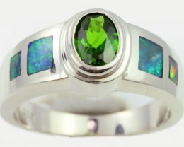 7 RING SIZE DIOPSIDE WITH NATURAL OPAL INLAY [SOJ5264]
