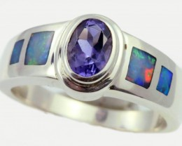 9 RING SIZE TANZANITE WITH NATURAL OPAL -SILVER[SOJ5279]