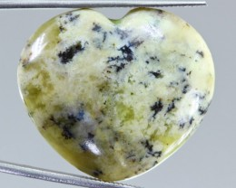 38.15ct Dendritic Opal Heart Shape Cabochon from Madagascar
