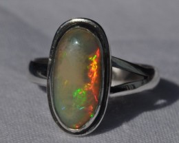 Sz6.5 Sterling .925 Silver & Solid Opal High Quality Handmade Ring