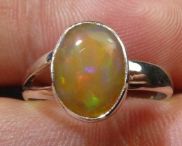 Sz5.5 Sterling .925 Silver & Solid Opal High Quality Han